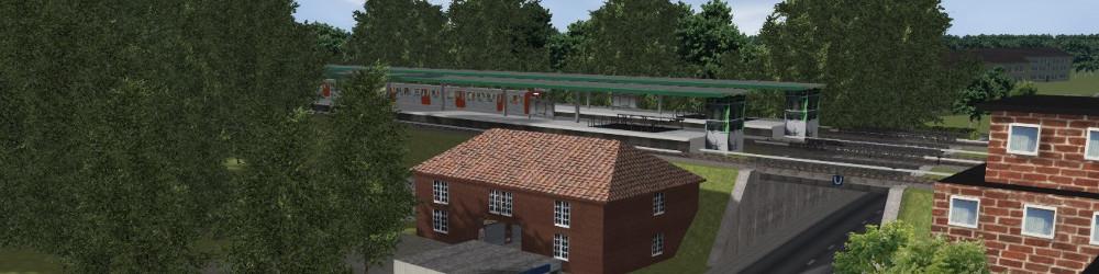 Blick über die virtuelle Nachbildung der Station Wansbek-Gartenstadt